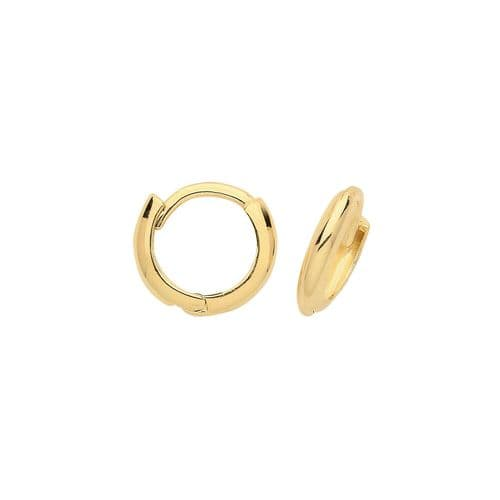 Small Yellow Gold Huggie Earrings Hinged Hoops 9mm British made Hallmarked